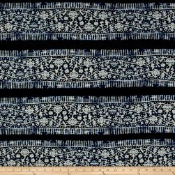 ITY Brushed Jersey Knit Stainglass Floral Black/Navy Fabric