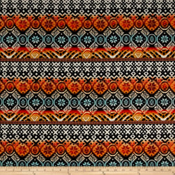 ITY Brushed Stretch Jersey Knit Aztec Black/Orange/Mint