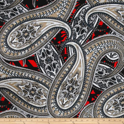 ITY Stretch Jersey Knit Large Paisley Gray/White/Coral Fabric