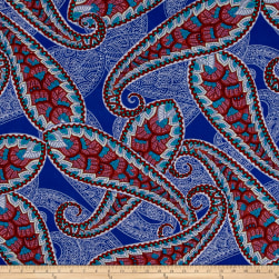 ITY Jersey Knit Large Paisley Royal/Red/Jade Fabric