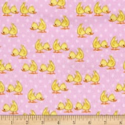 Comfy Flannel Ducks Pink Fabric