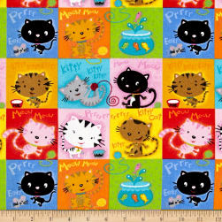 Comfy Flannel Cat Blocks Multi Fabric