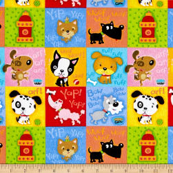 Comfy Flannel Dog Blocks Multi Fabric