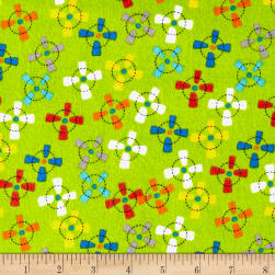 Comfy Flannel Propellers Green Fabric