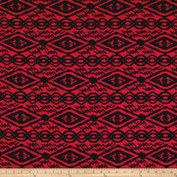Venezia Spun Poly Jersey Knit Abstract Black/Red Fabric