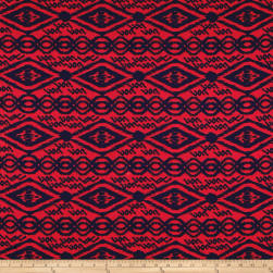 Venezia Spun Poly Jersey Knit Geo Red/Navy