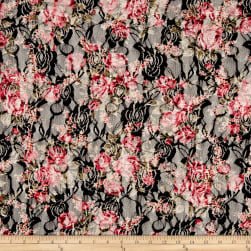 Stretch Floral Lace Pink/Black Fabric