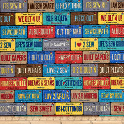 Timeless Treasures On The Go License Plates Multi