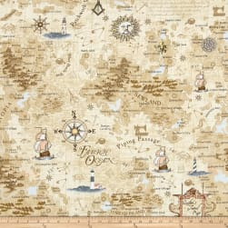 Timeless Treasures On The Go Map Map Fabric