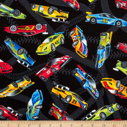 Timeless Treasures Race Cars Race Cars Black Fabric