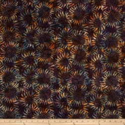 Bali Handpaints Batiks Sunflower Eggplant Fabric