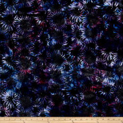 Bali Handpaints Batiks Sunflower Black/Grape Fabric