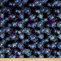 Bali Handpaints Batiks Loop Flowers Blackberry Fabric