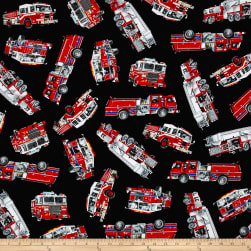 Timeless Treasures Rescue Tossed Fire Engines Black Fabric