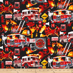 Timeless Treasures Rescue Firefighter Collage Rescue Fabric