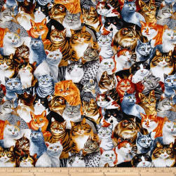 Timeless Treasures Fancy Felines Stacked Cats Cat Fabric