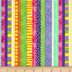 Timeless Treasures Flannel Bugtopia Funky Stripe Purple