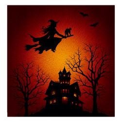 "Supernova Seasons Digital Halloween Silhouette 44"" Panel Citrine"