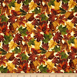Falling For You Metallic Packed Leaves Cream/Gold Fabric