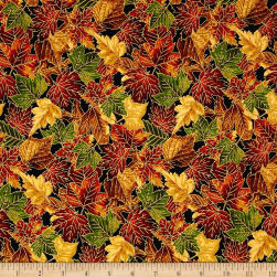 Falling For You Metallic Packed Leaves Black/Gold Fabric