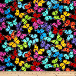 Timeless Treasures Prism Allover Butterflies Black Fabric