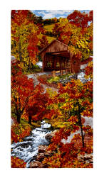 "Timeless Treasures Autumn Covered Bridge Scenic 23"" Panel Bridge"