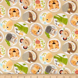 Zoovenirs Flannel Animal Heads Tan