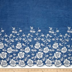 Telio Denim Embroidered Single Border Floral White Fabric