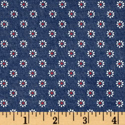 Telio Printed Denim Floral Medium Blue White/Red Fabric