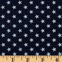 Telio Stretch Printed Denim White Stars Dark Blue