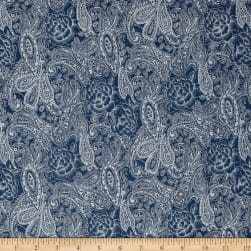 Telio Stretch Printed Denim Paisley Floral Med Blue Fabric