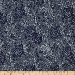 Telio Stretch Printed Denim Paisley Floral Dark Blue