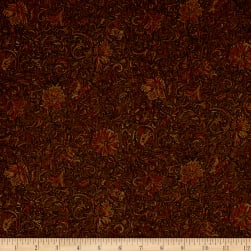Riding Westward Faux Embossed Leather Brown Fabric