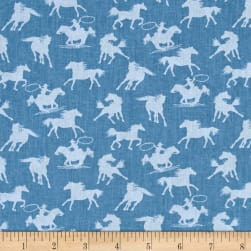Riding Westward Silhouette Horses Blue