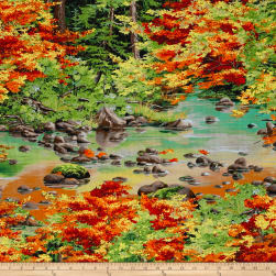 Autumn Blaze Trees Multi Fabric