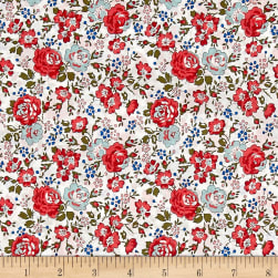 Liberty Fabrics Classic Tana Lawn Felicite White/Red Fabric