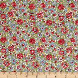 Liberty Fabrics Classic Tana Lawn Amelie Green/Red Fabric