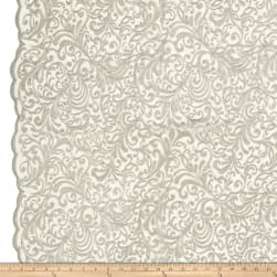 Telio Angelina Embroidery Mesh Lace Silver Fabric