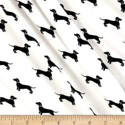 Telio Moda Crepe Dachshunds White/Black Fabric