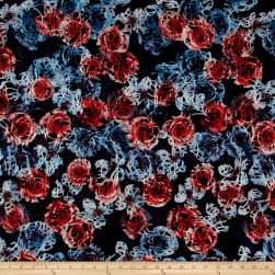 Telio Mixi Embroidered Abstract Black/Blue/Coral Fabric