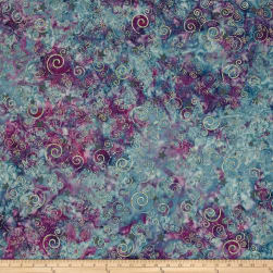 Bali Handpaints Batiks Winter's Magic Swirls Huckleberry Fabric