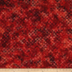 Bali Handpaints Batiks Ditzy Flowers Burnt Sienna Fabric