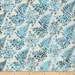 Bali Handpaints Batiks Mixed Leaves Cerulean Fabric