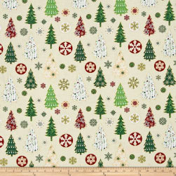 Oh What Fun Metallic Christmas Trees Cream/Gold Fabric