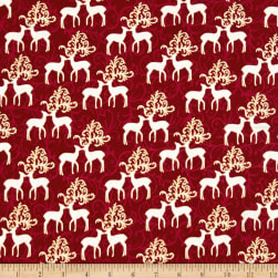 Oh What Fun Metallic Deer Garnet/Gold Fabric