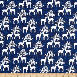 Oh What Fun Metallic Deer Royal/Silver Fabric