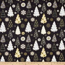 Oh What Fun Metallic Christmas Trees Dark Gray/Gold