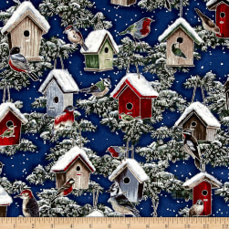 A Cardinal Christmas Metallic Birdhouses Royal/Silver Fabric