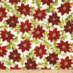 Winter Blossom Metallic Large Poinsettia Natural/Gold Fabric
