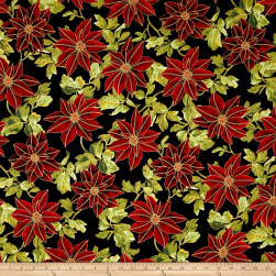 Winter Blossom Metallic Large Poinsettia Black/Gold Fabric